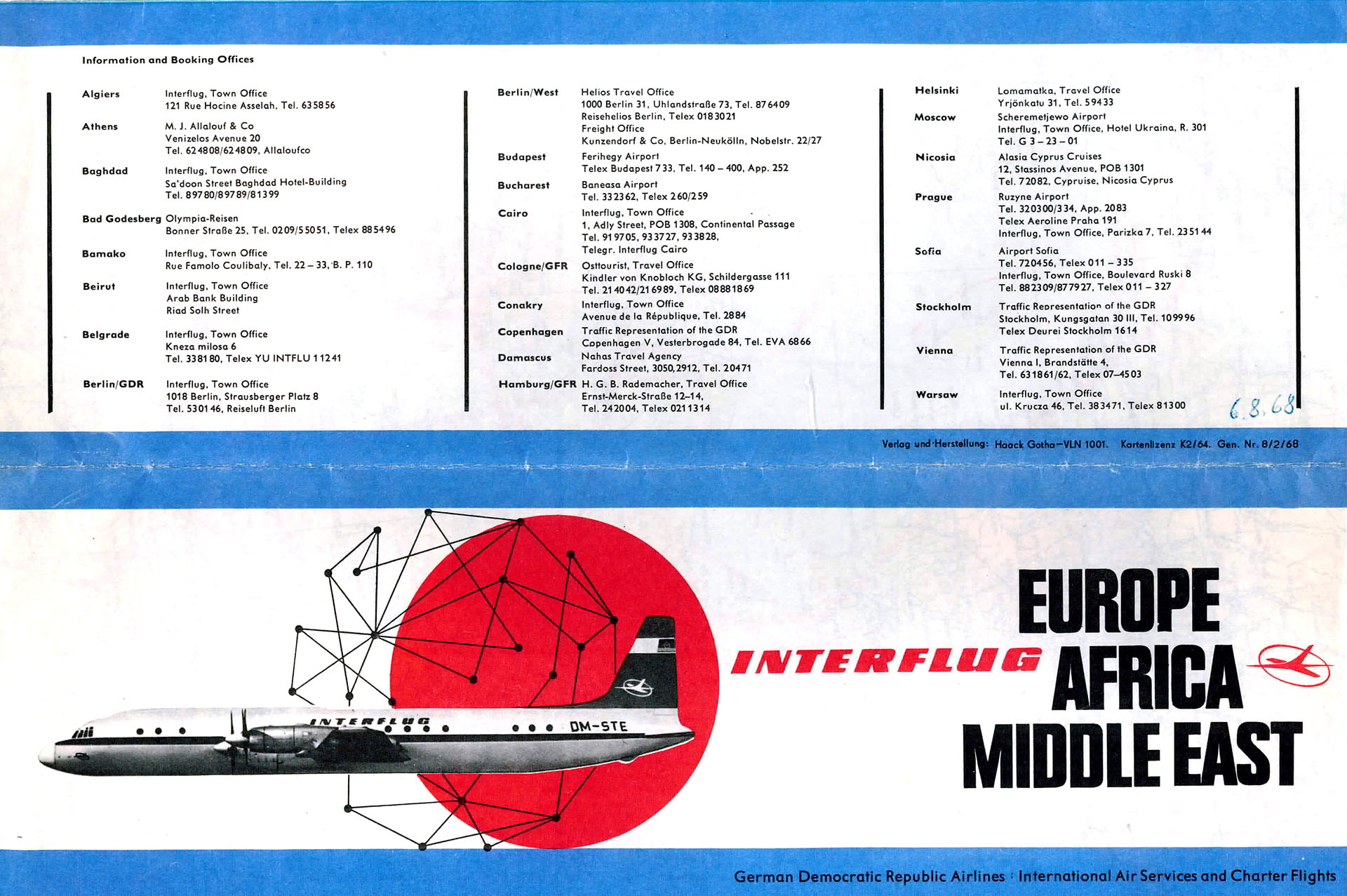 Webeprospekt Interflug: EUROPA - AFRICA - MIDDLE EAST - German Democratic Republic Airlines