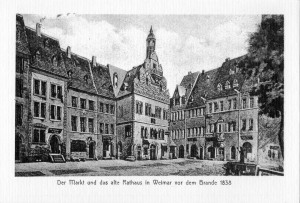 Markt und altes Rathaus vor dem Brand 1838