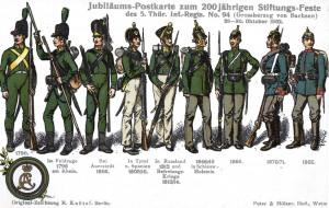 Jubiläumspostkarte des 5. Thüringer Infanterieregiments
