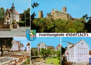 """Georgenbrunnen vor dem Residenzhaus, Wartburg, Bahnhofstraße, Platz der DSF, Gedenkstätte """"Goldener Löwe"""""""