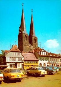 Blick vom Mathildenbrunnen zur Nikolaikirche
