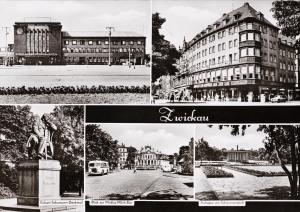 Robert-Schumann-Denkmal, Blick zur Milch Mokka Bar, Anlagen am Schwanenteich