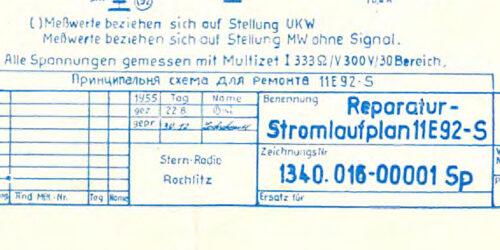1955- Stromlaufplan UKW - Röhrenradio 11R92-S<br> von Stern - Radio Rochlitz