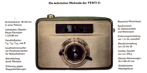 1961-Werbung für die Kleinbildkamera PENTI II<br> aus dem VEB Kamera und Kinowerk Dresden