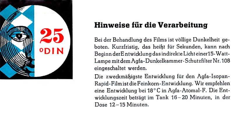 1958-Filmaterial Isopan Rapid 25 DIN