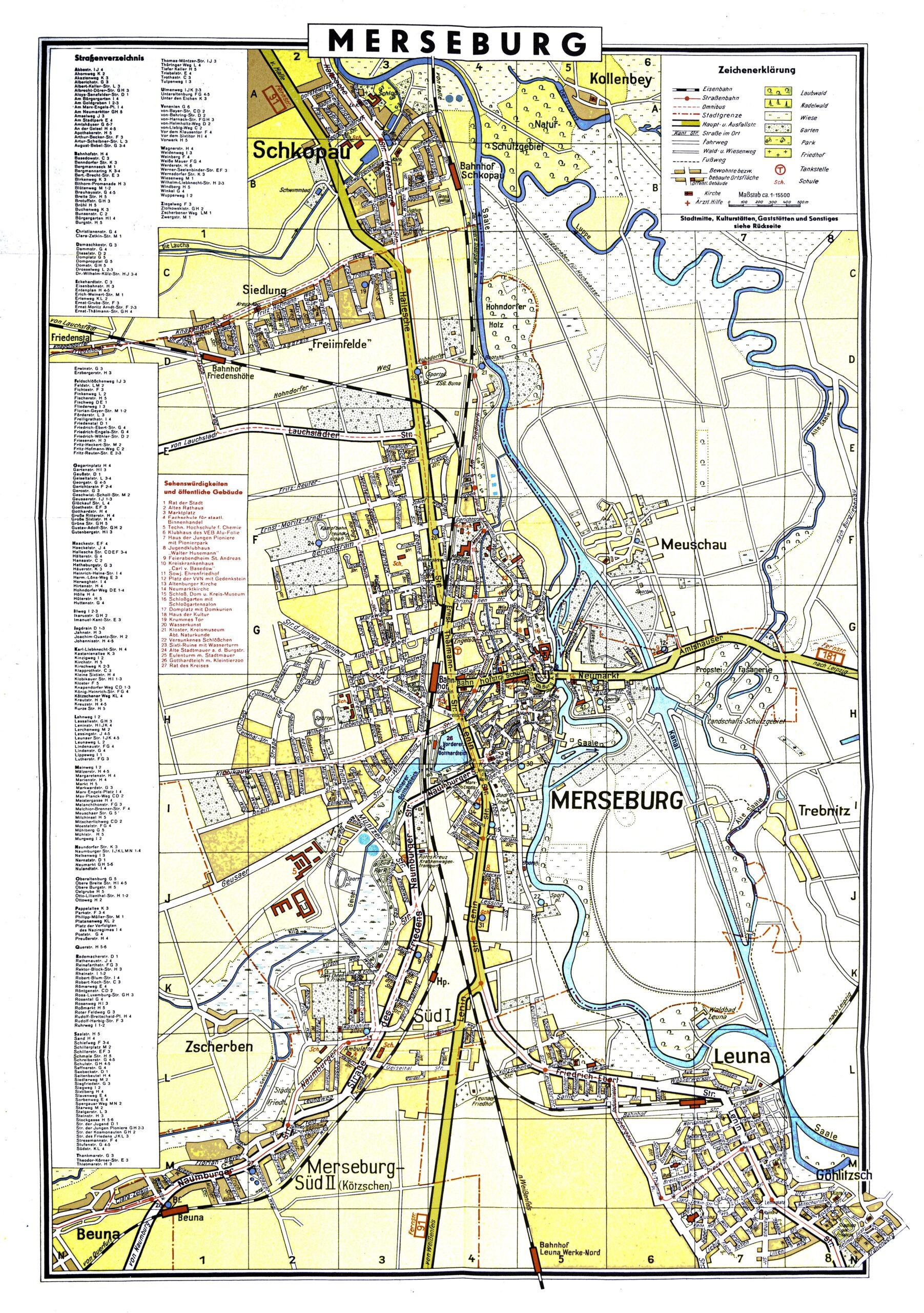 1963-Stadtplan Merseburg mit Straßenregister