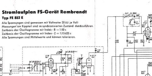 1953 - Stromlaufplan FS - Gerät Rembrandt Typ FE 852 E