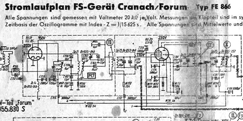 1959-Stromlaufplan FS-Gerät Cranach + Forum Typ FE 866