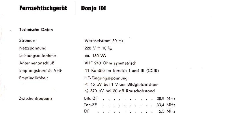 1964-Fernsehtischgerät Donja 101