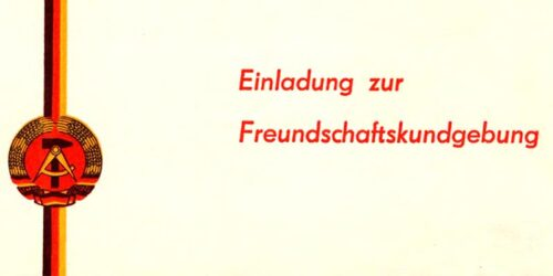 1966 - Einladung zur Freundschaftskundgebung Städtepartnerschaft Merseburg - Chatillon
