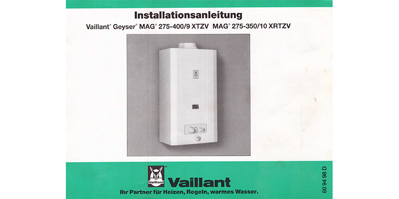 Vaillant Geyser Installationsanleitung